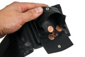 Pleite - kein Geld in der Geldbörse